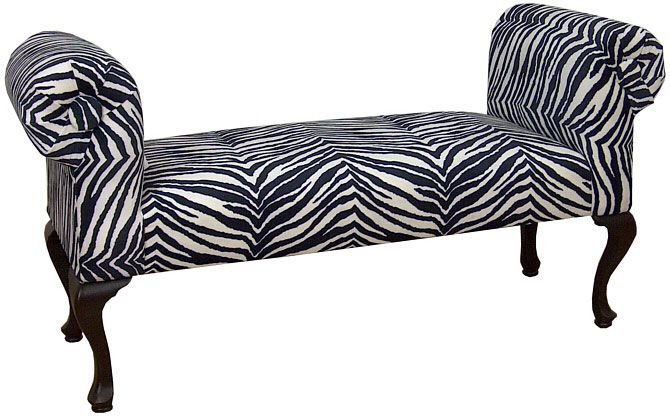 """Penelope  Rolled Arm  Window Bench in Zebra  Available in All Microfiber Covers, Colors and Prints  All PFI Running and Pillow Fabrics  $129.00  47""""L x 17""""D x 24""""H      CTC LR4040"""