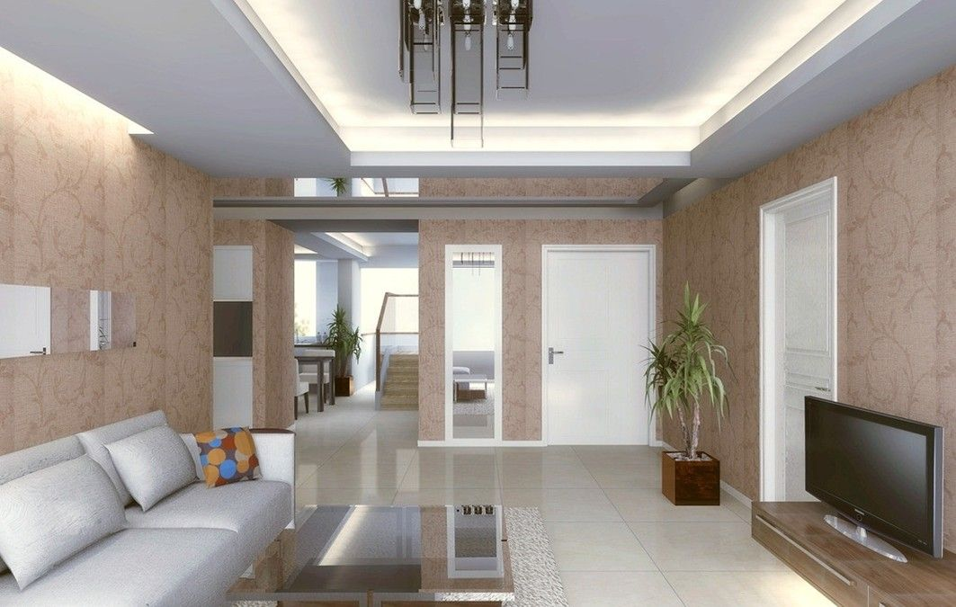 Living Room Hidden Wall Lamp Design Rendering For Shiny And