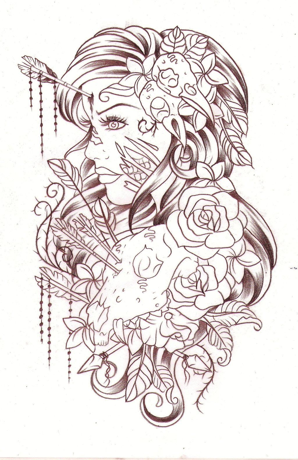 Headshot Sketch By Nevermore Ink Deviantart Com On