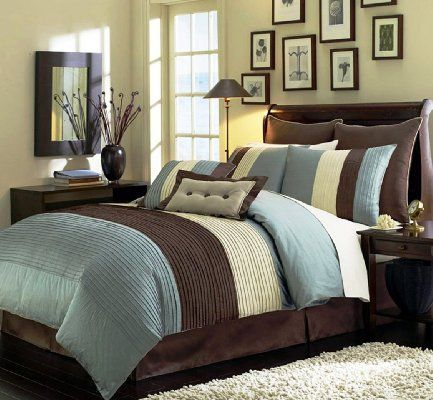 8 Pieces Beige Blue And Brown Stripe Comforter 104 X92 Bed In A Bag Set King Size Bedding Amazon Home Kitchen Brown Comforter Sets Home Blue Bedding Sets