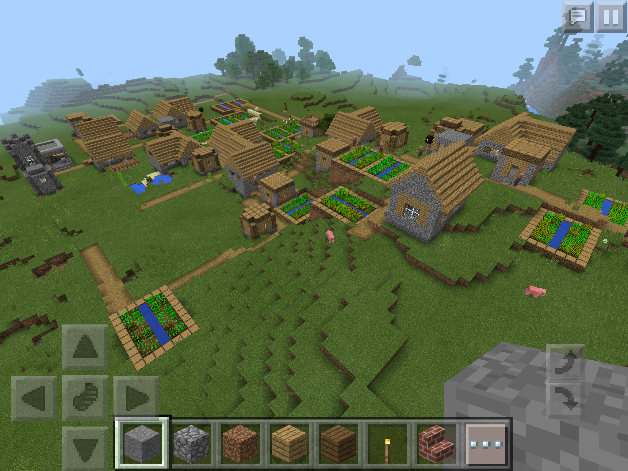 Awesome Minecraft PE seed Two villages one HUGE and a Witch Hut