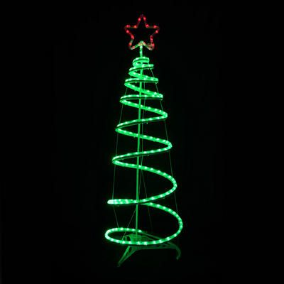 Christmas Spiral Tree LED Rope Light With Star 120cm Indoor Outdoor Mains  Decoration - Christmas Spiral Tree LED Rope Light With Star 120cm Indoor Outdoor