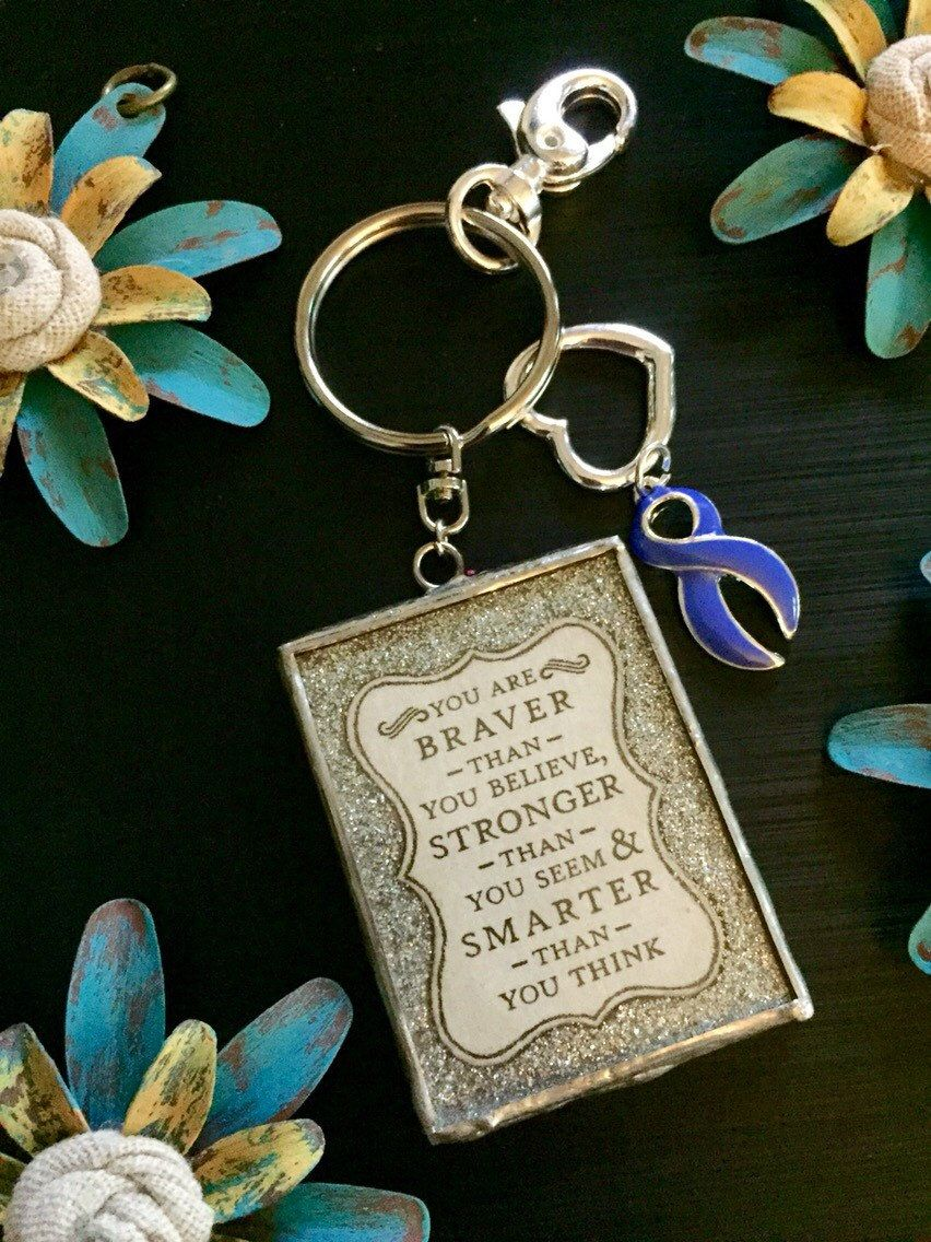 Periwinkle Purple Ribbon Keychain / Stronger Quote / Anorexia Bulimia / Esopgageal Gastric Cancer Awareness / Stomach Cancer by RockYourCauseJewelry on Etsy
