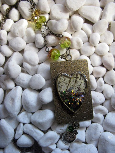 Gold Heart Pendant Necklace Fire Opal Mica by MaggieMarieCreations, $28.00