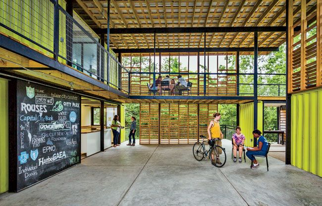 Students At Tulanes Design Build Program Converted A Former New Orleans Golf Course Into The Grow Dat Youth Farm Which Includes Education Center Made