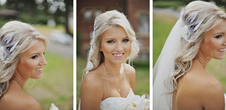 Partially pulled back wedding hair with veil and hairpiece.  Ceremony hair
