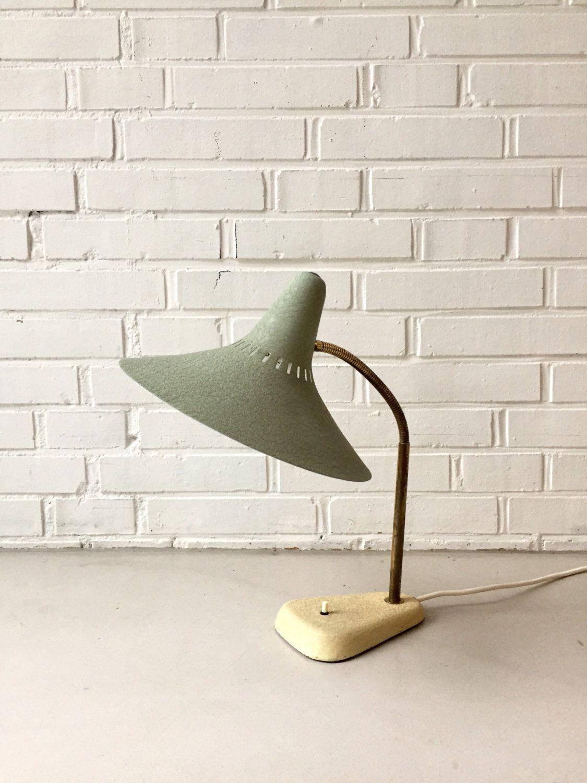 Superb Vintage Lampe Stil Novo er Jahre Schreibtischlampe Schwanenhals Hexenhut Schirm Nachttischlampe