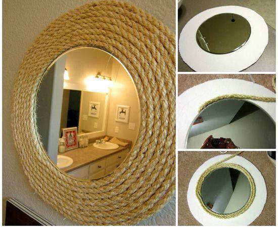 Ideas para decorar con soga i marcos para espejos for Decoracion de espejos