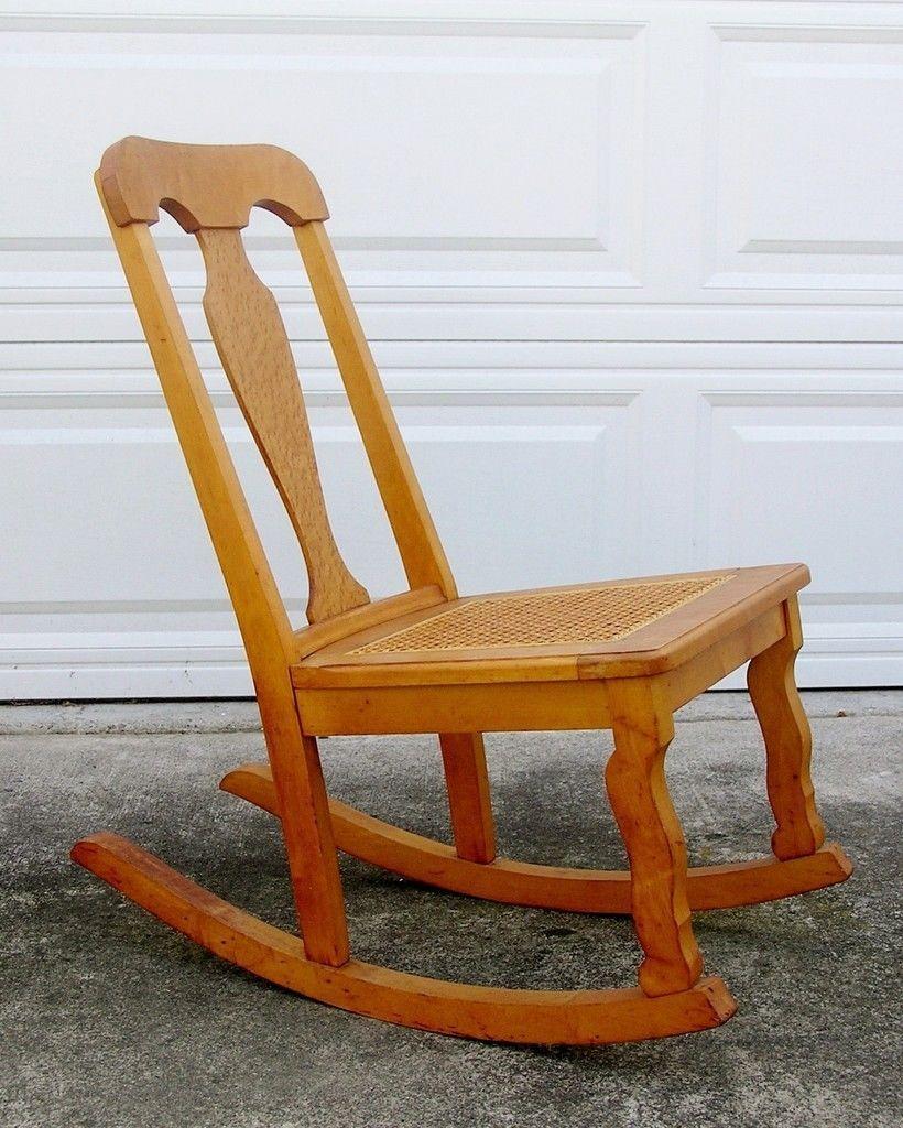 Vintage Birdseye Maple Rocking Chair Woven Cane Seat Sewing Rocker