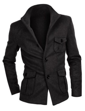 Mens China Collar Half Length Jacket this good overcoat warm, fit you, and make you look great.