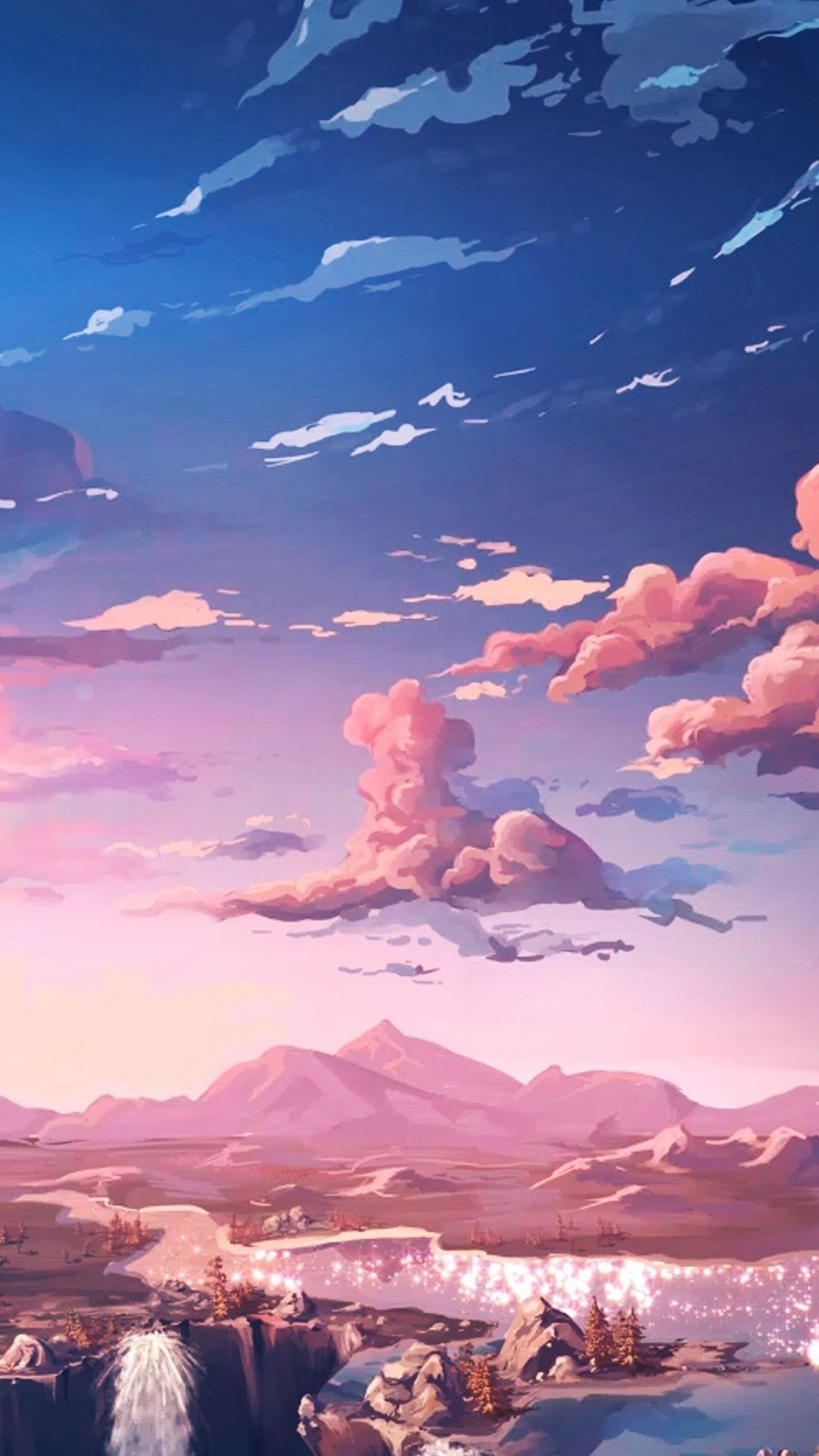 Sunset Sky Stars Clouds iPhone Wallpaper