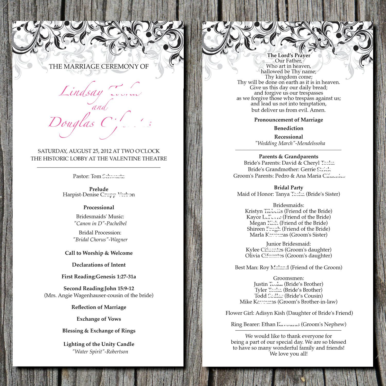 Simple Elegant Wedding Ceremony Program By Ayleighdesigns On
