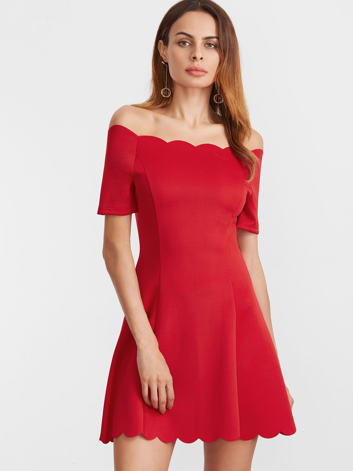 f2e538f347 Shop Red Scallop Edge Off The Shoulder Dress online. SheIn offers Red  Scallop Edge Off The Shoulder Dress & more to fit your fashionable needs.
