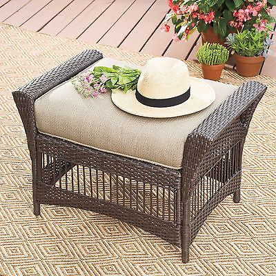 New Ottoman Wicker Furniture Stool Outdoor Patio Cushion Footstool Bench In  Sand | Paint Ideas Furniture | Pinterest | Paint Ideas, Front Porches And  ...