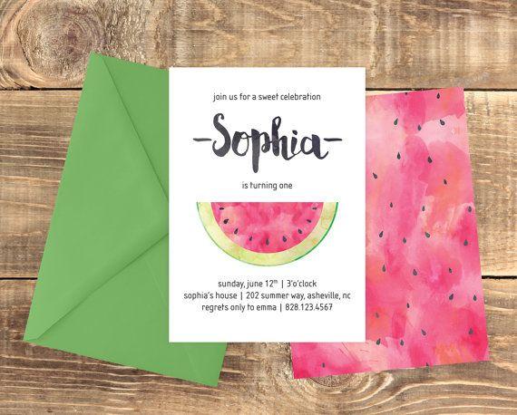 Watermelon Birthday Printable Invitation Sweet Birthday