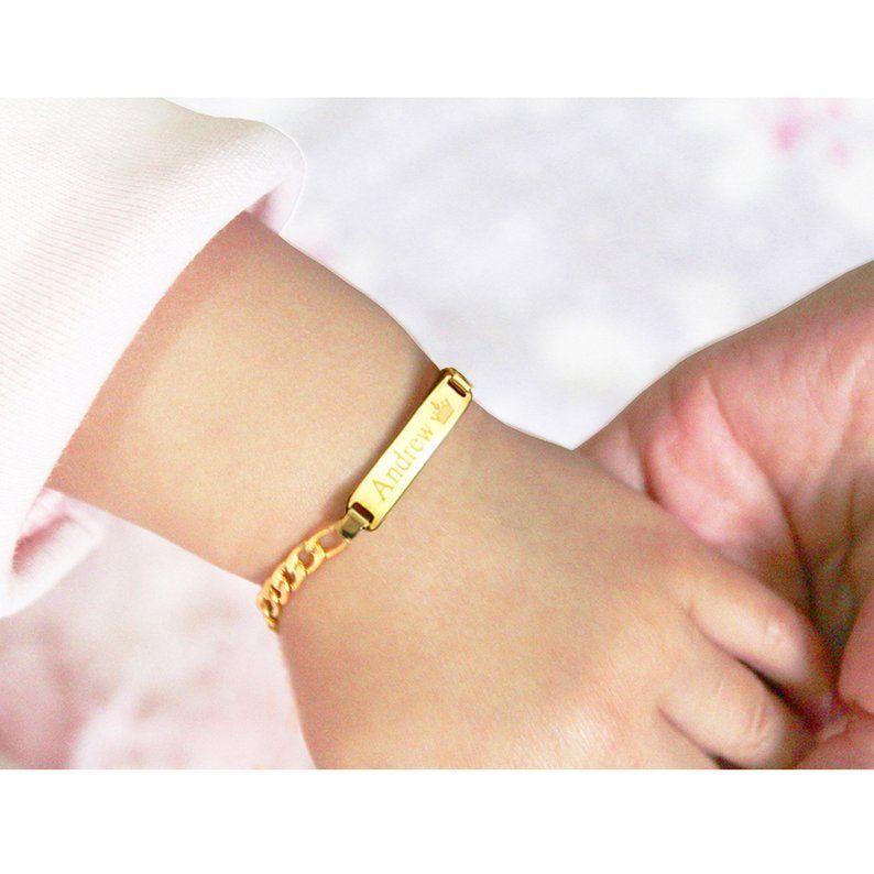 Baby Bracelet Gold Child Id Bracelet Baby Bracelet Silver Custom Name Bracelet Personalized Baby Id Bracelet With Any Name Baby Bracelet Gold Baby Girl Bracelet Girl Bracelets