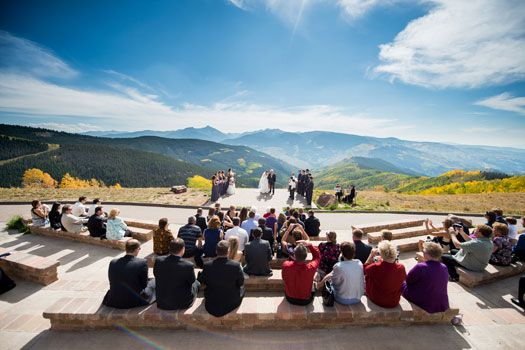ceremony on the vail mountain wedding deck image by bryanjonathanweddingscom