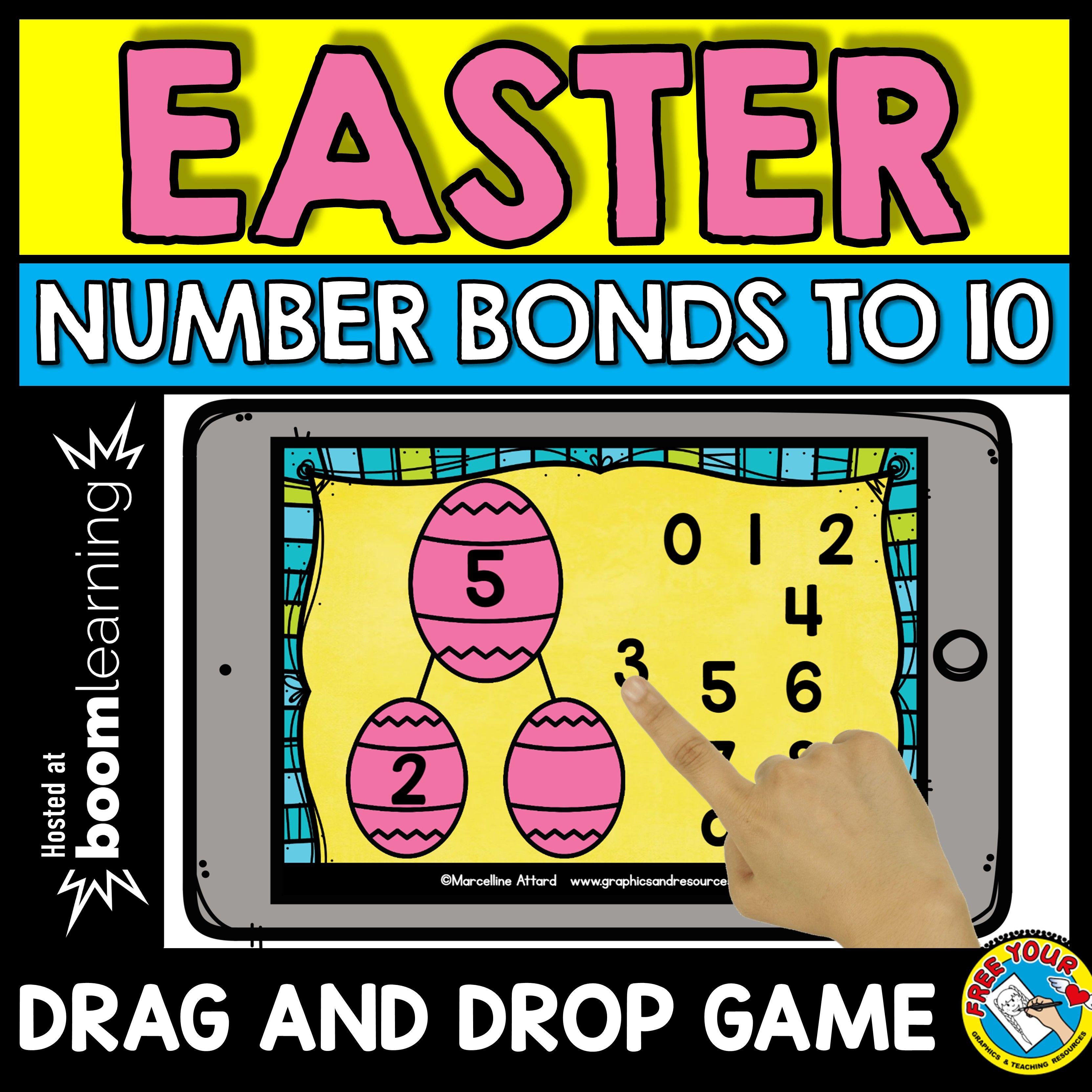 Easter Number Bonds Kindergarten Easter Egg Drag And Drop The Missing Number Game A Fun Easte Number Bonds To 10 Easter Kindergarten Activities Number Bonds