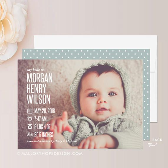 Christian Shabby Chic Birth Announcement Card - Little Boy Colors