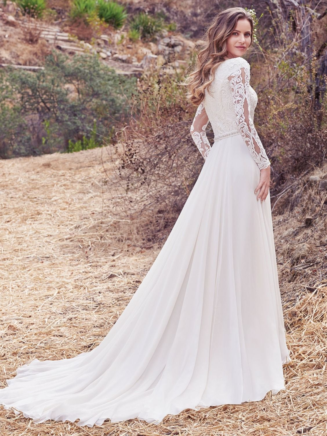 1e601f486e55 Maggie Sottero - DARCY MARIE, This Aurora Chiffon A-line wedding dress  features a lace bodice with illusion long-sleeves, accented in lace  appliqués, ...