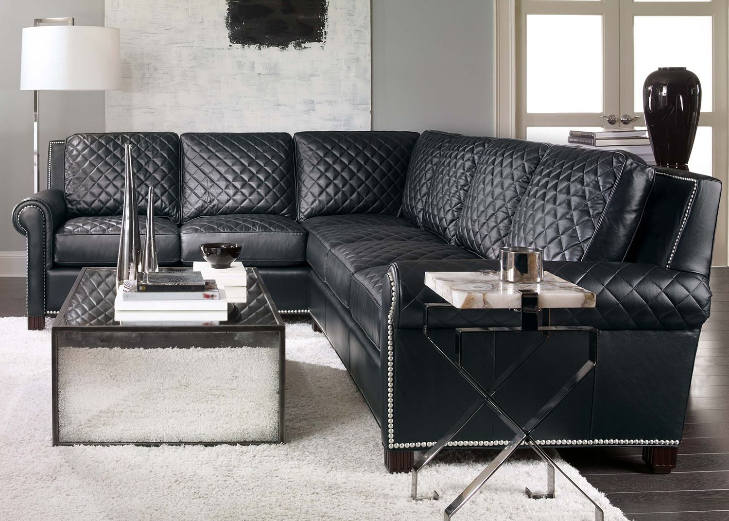 Coco Black Leather Sectional Sofa   A Place to Sit   Leather ...
