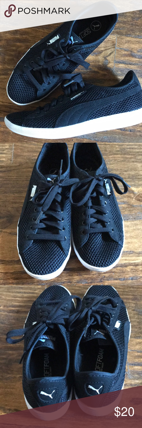 fab68ff715ca70 Black Puma sneakers Brand new black Puma sneakers. Worn once! Mesh-like  upper with soft foam sole. Excellent condition! Puma Shoes Sneakers