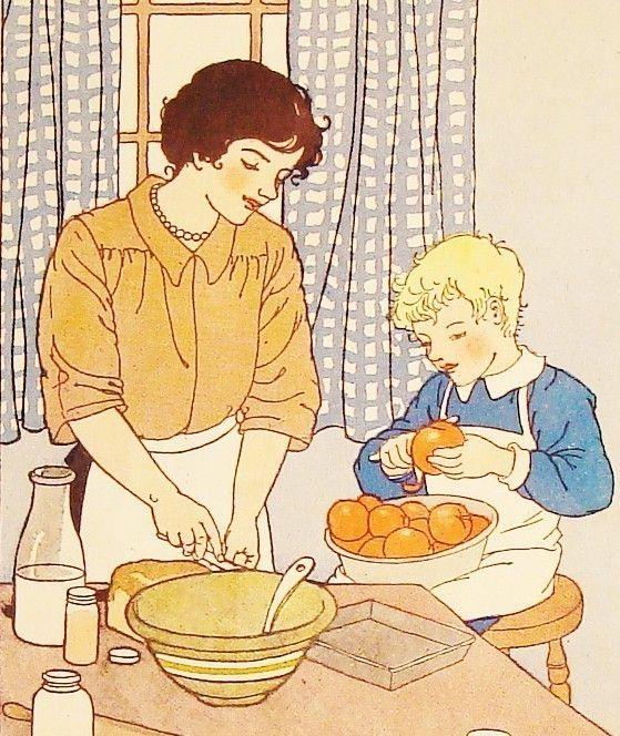Messy Kitchen Baking: Vintage Book Art, Vintage