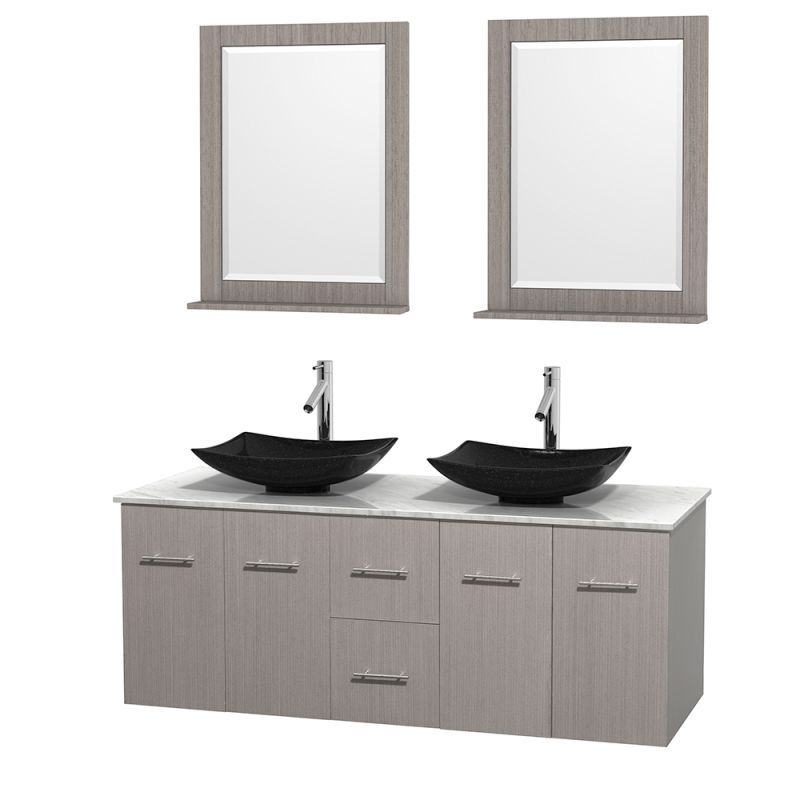 "Wyndham Collection WCVW00960DGOCMOVM24 60"" Wall Mounted Vanity Set with Hardwood Arista Black Granite Sink Fixture Vanity Double"