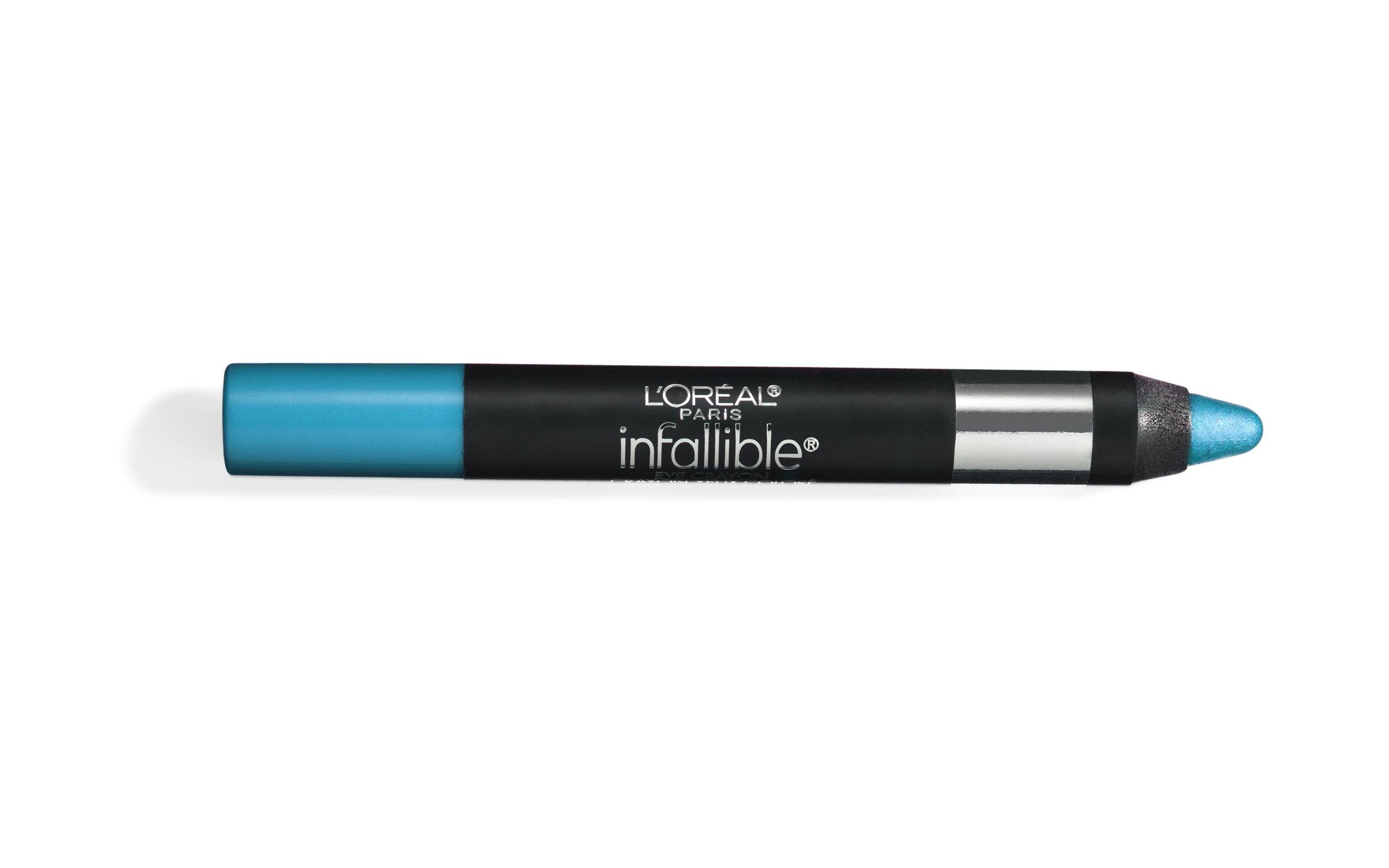 On dark skin, a bold blue illuminates eyes.  L'Oréal Paris Infallible Eye Shadow Crayon in No. 703 Always Aqua, $7.99.   - Redbook.com