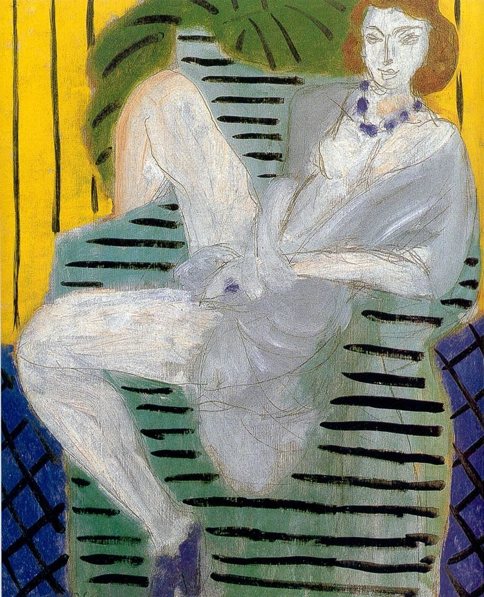 "terminusantequem: "" Henri Matisse (French, 1869–1954), Woman on a Sofa, Yellow and Blue Background, 1936, oil on canvas, 46 x 38 cm """