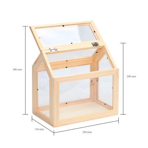 mini serre en bois 25x15x25 cm