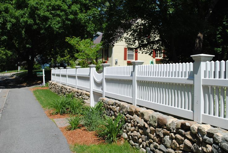 Garden Inspiration Stone Fence White Picket Fence Front Yard Fence