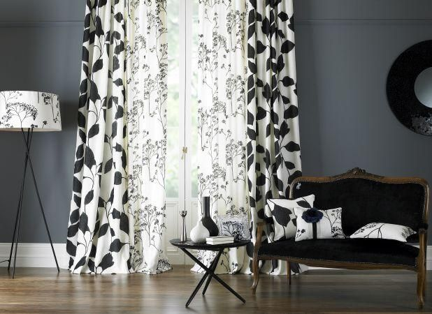 Curtains Fabric Decor Living Room Colors Black And White Cushions
