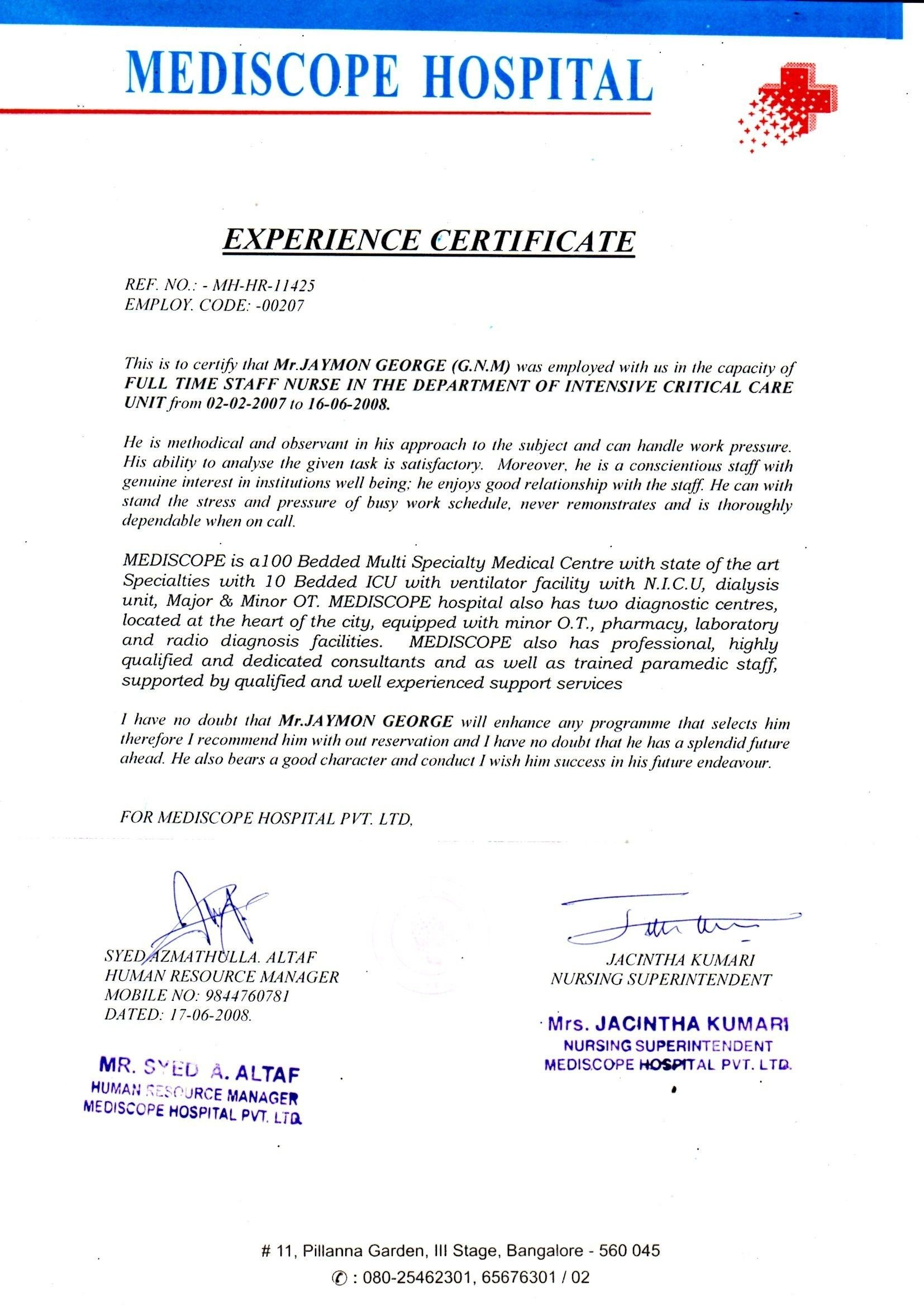 Employment Certificate Sample For Clinic Nurse Copy Icu