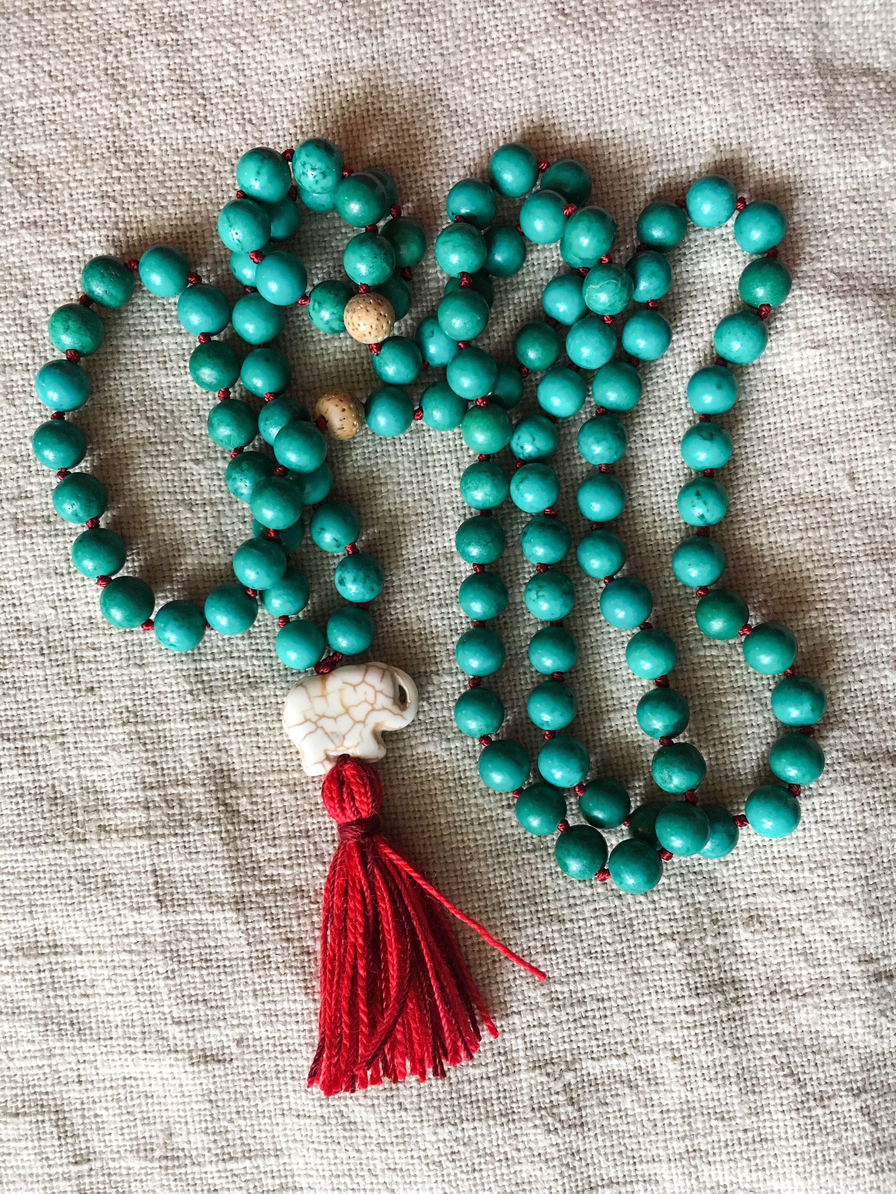 Turquoise Lotus Seed Elephant Mala Made Prayer Beads Mala Made