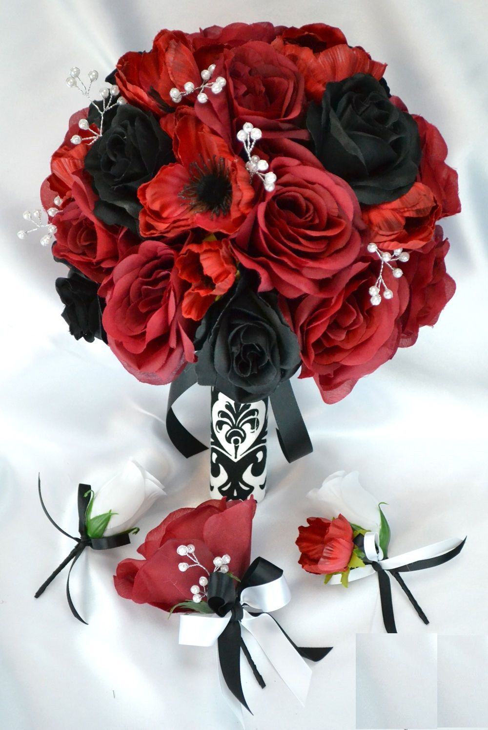 17 Piece Package Silk Flower Wedding Bridal Bouquet Apple Red Black