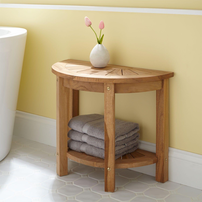 Surya Small Half-Circle Teak Shower Seat   Shower seat, Teak and ...