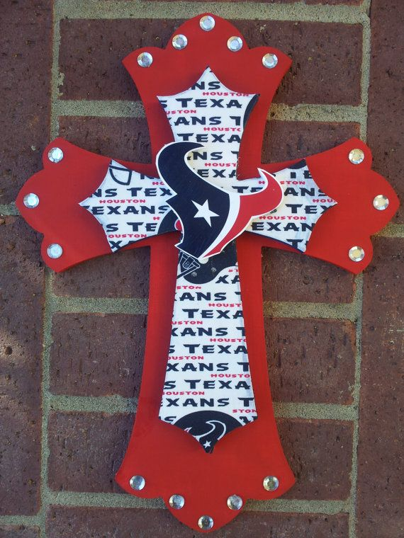 Texans Double Wooden Cross By Lmorales52 On Etsy 3500 Go Texans