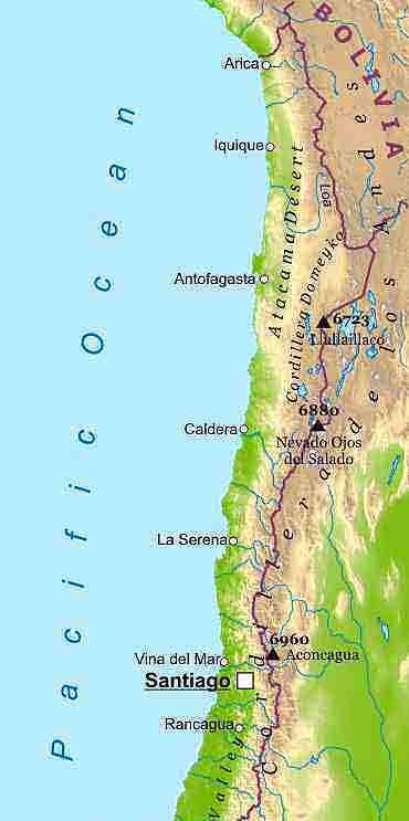 Physical Map Of Chile Political Map Of Chile Physical Map Of