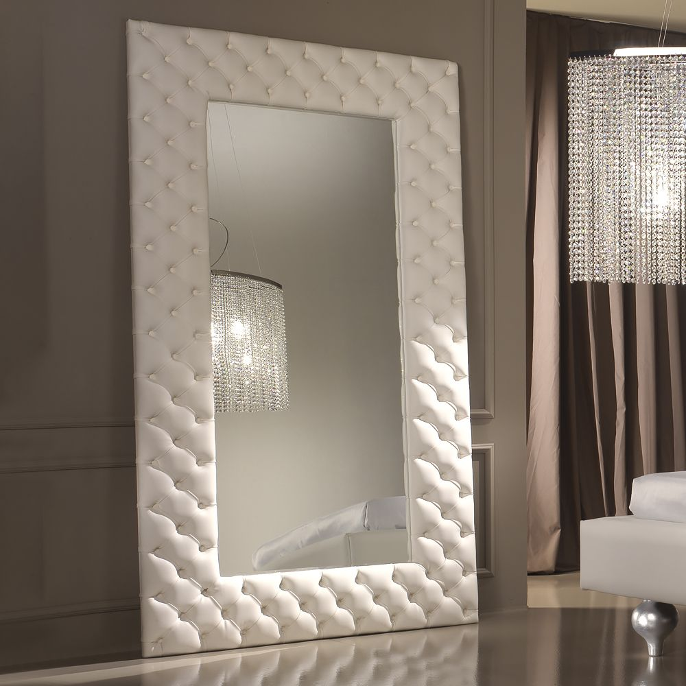 Modern italian white leather upholstered mirror salons modern italian white leather upholstered mirror amipublicfo Gallery