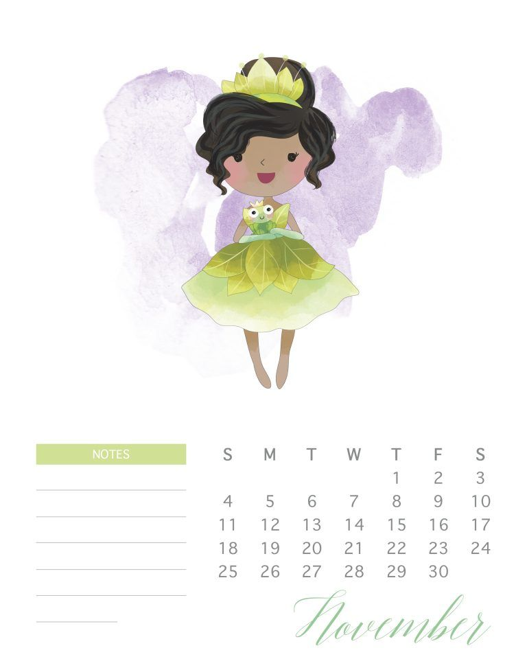 Free Printable Watercolor Princess Calendar Seni Animasi