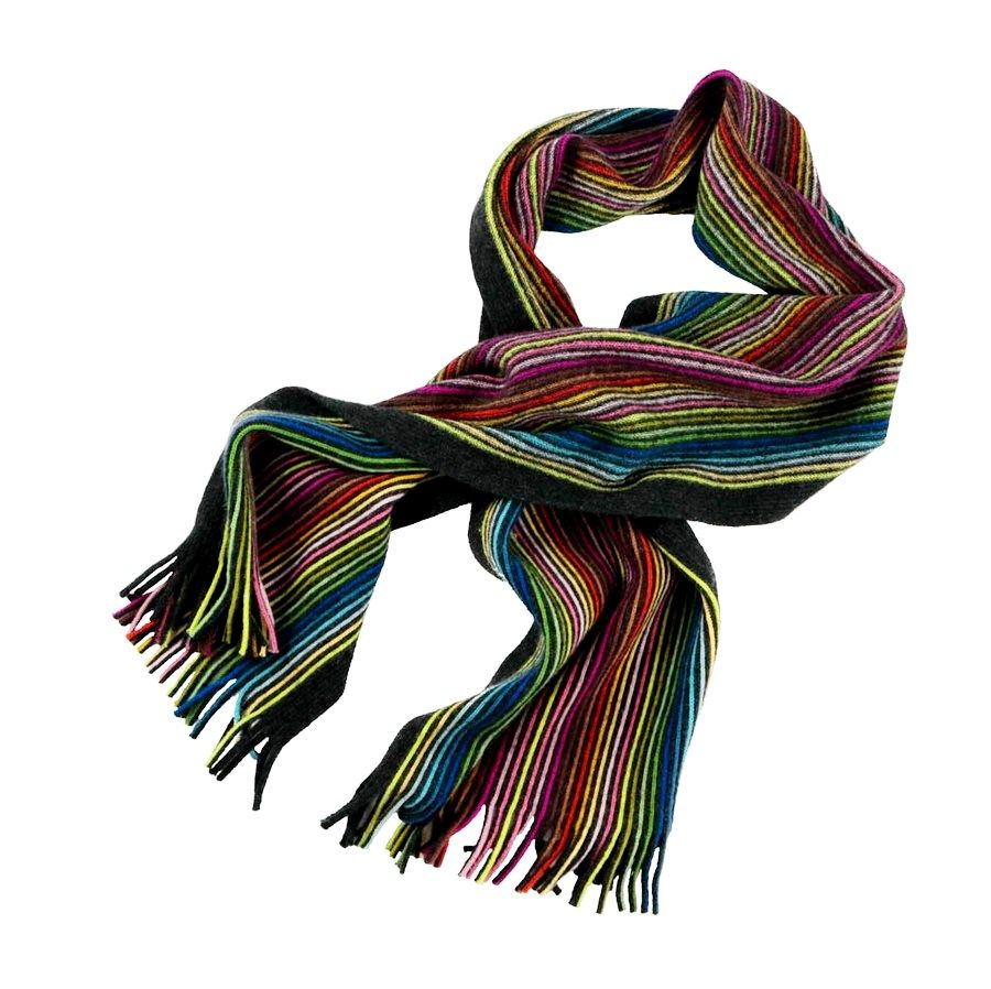 Bold Urban Style In This Paul Smith Germany Black Rainbow Striped 100 Cashmere Scarf Find Yours Http Mens Designer Fashion Menswear Italian Silk Scarf