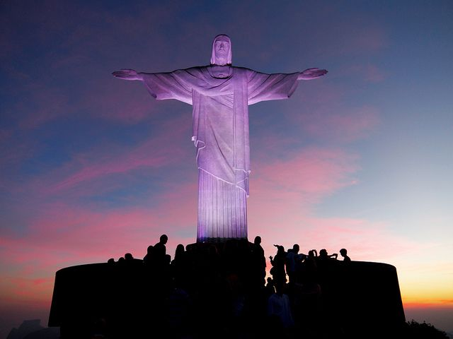 Image result for christ the redeemer statue purple sky""