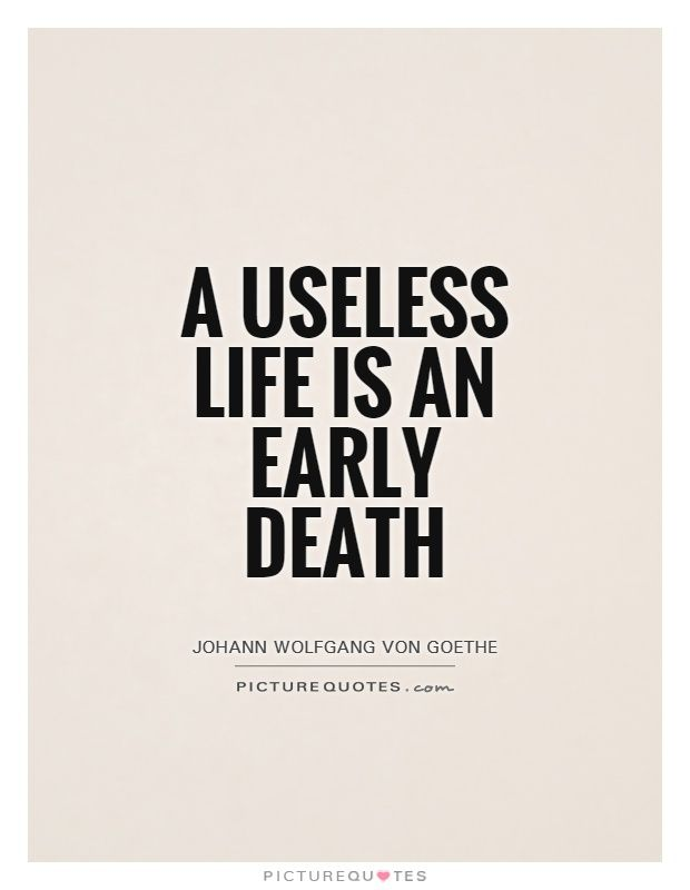 A Useless Life Is An Early Death. Picture Quotes.