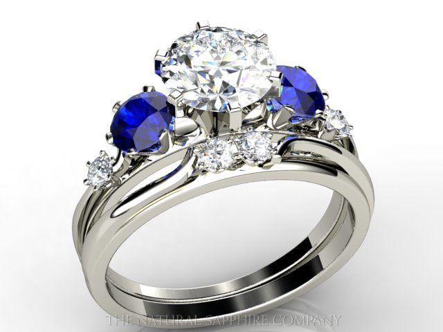 Custom Made Blue Sapphire And Diamond Engagement Ring Wedding Band