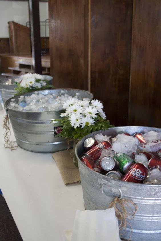 Drink Station Graduation Party Burlap Butcher Paper Daisies Rustic