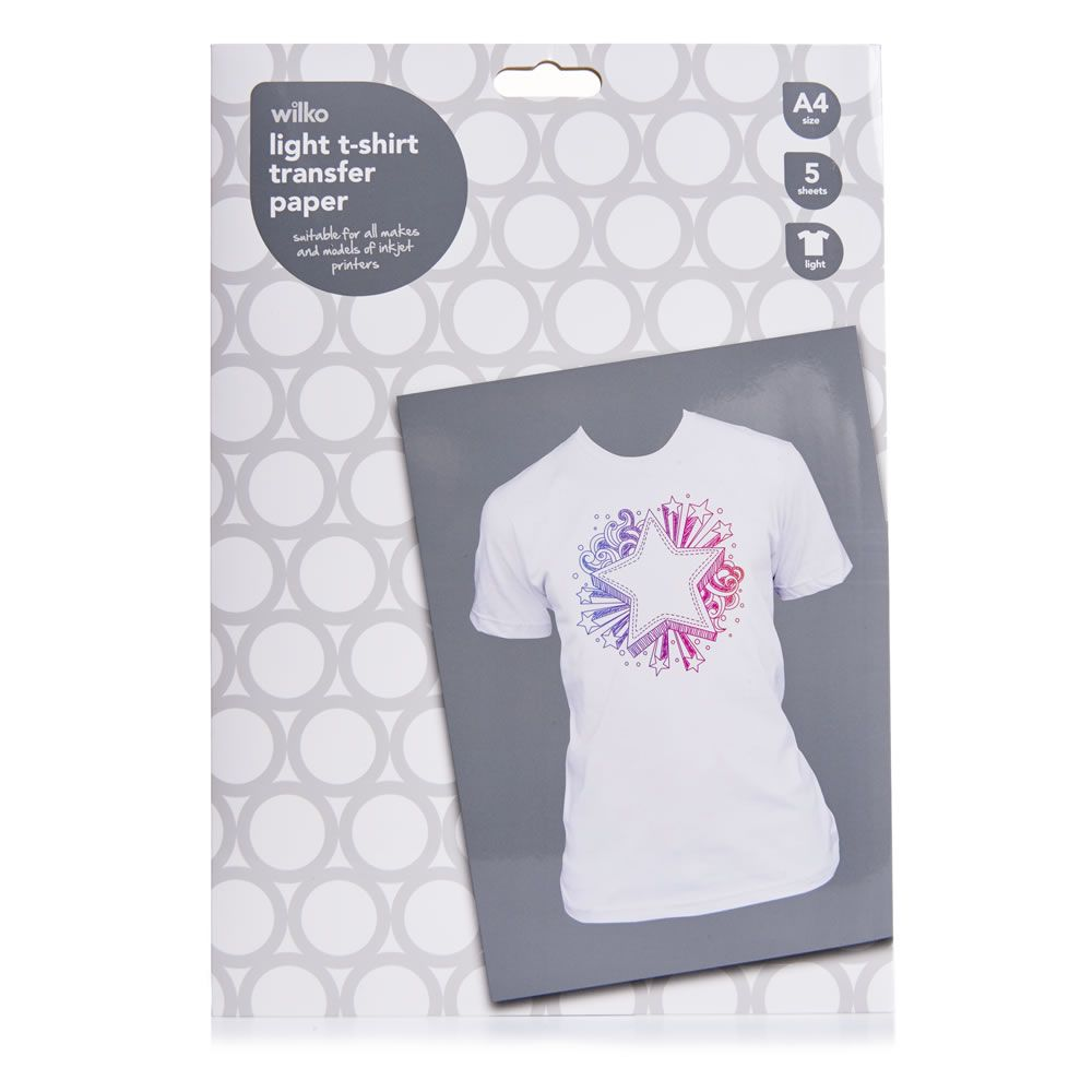 706157dff Wilko T-Shirt Transfer Paper Light A4 x 5 Sheets | DIY Designer tops ...