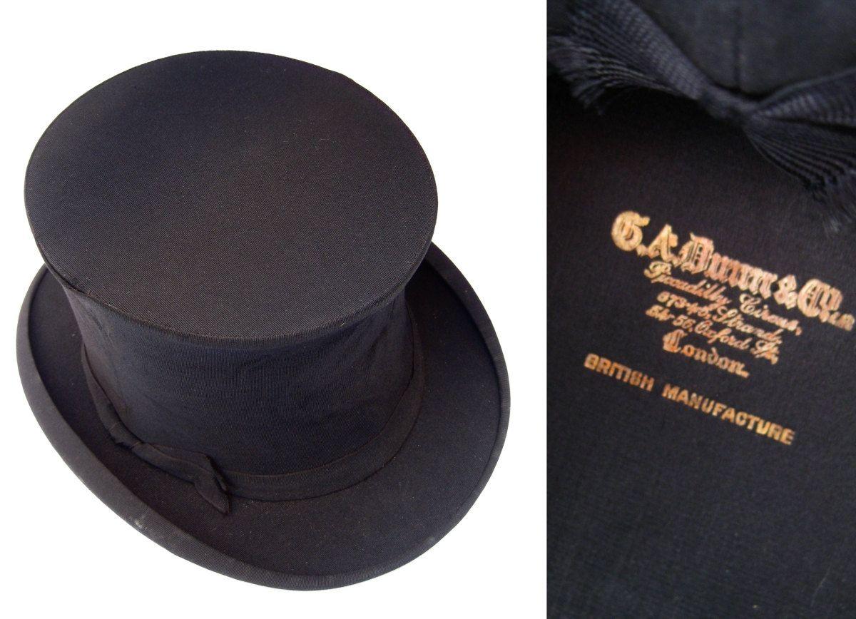 Antique GA Dunn Co Collapsible Top Hat - Dapper Steampunk Victorian Wedding  Groom Men s Vintage Fashion - Elegant British Gentleman. a1b25adb0e32
