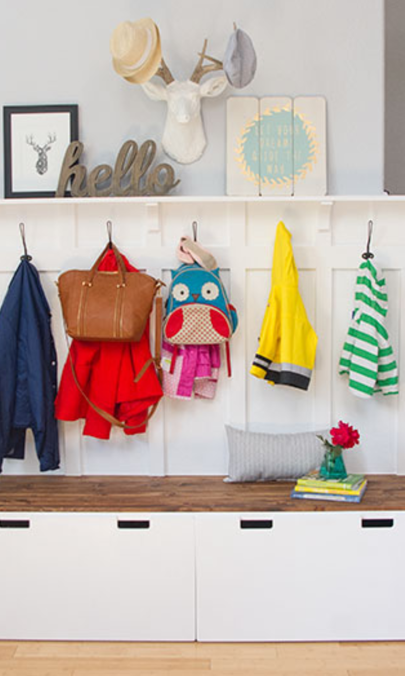 Add Extra Coat Hooks To Your Entryway S Bench In This Ikea Hack