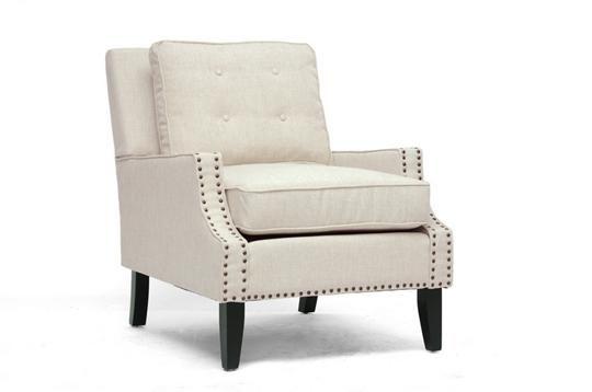 Baxton Studio Norwich Beige Linen Modern Lounge Chair | Chicago Furniture